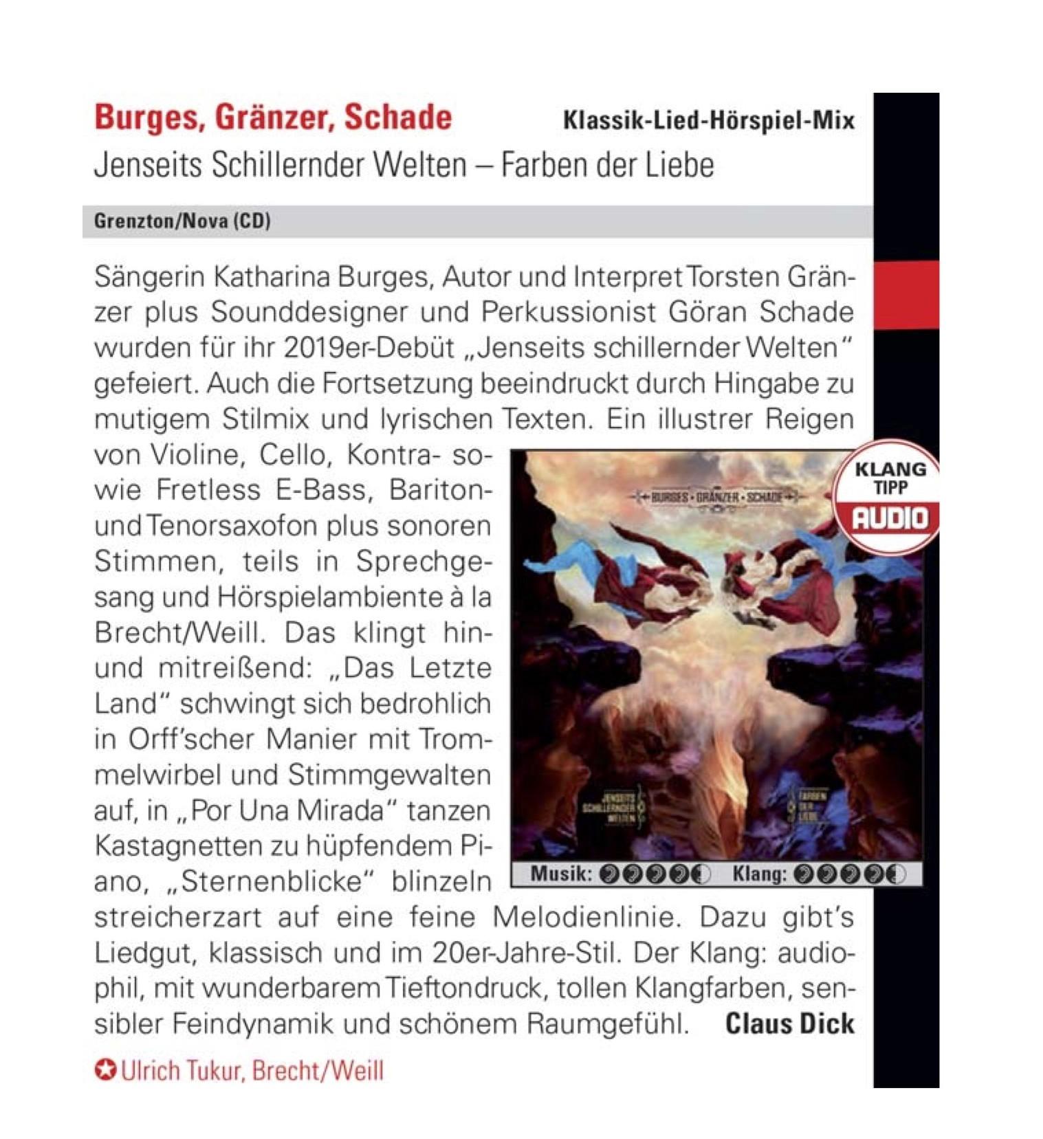 Burges Gränzer Schade_Jenseits schillernder Welten-Farben der Liebe_Audio Magazin_Rezi_April 21