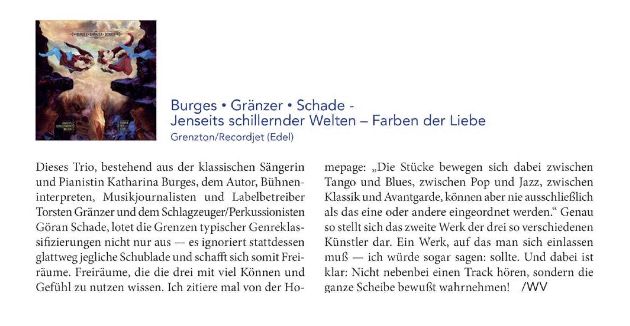Burges Gränzer Schade_Jenseits schillernder Welten-Farben der Liebe_HiFi Stars_Rezi_März 21
